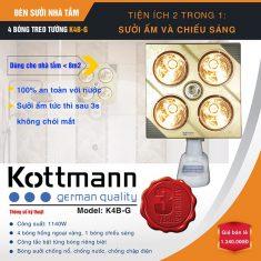 Đèn sưởi nhà tắm 4 bóng treo tường K4BG