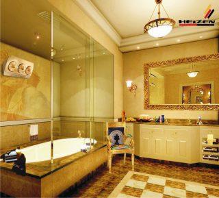 Đèn sưởi nhà tắm heizen 3 bóng 10 năm vàng được lắp tại nhà tắm