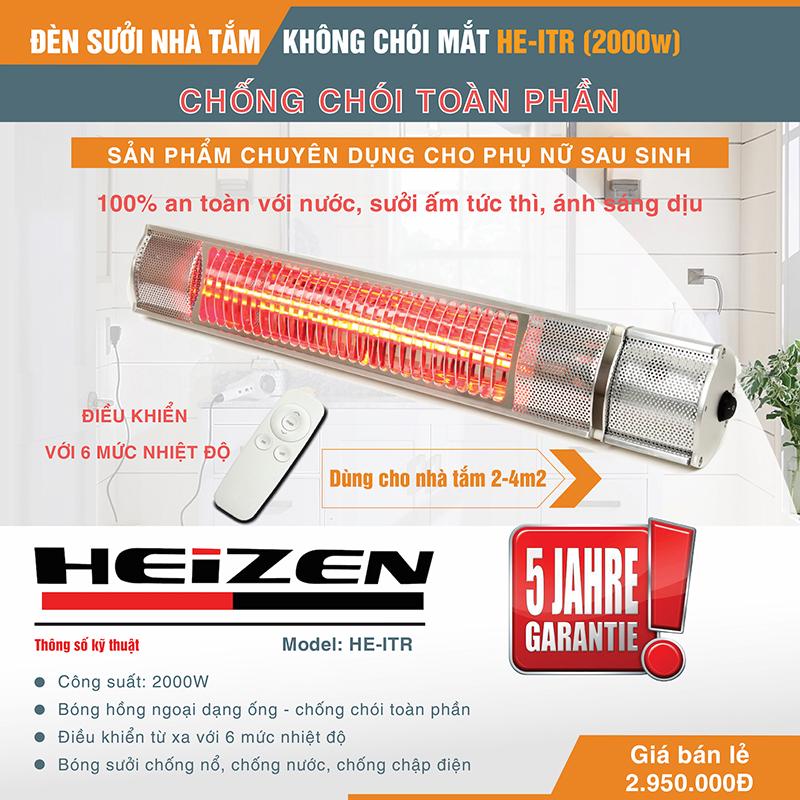 Đèn sưởi nhà tắm Heizen không chói HEITR