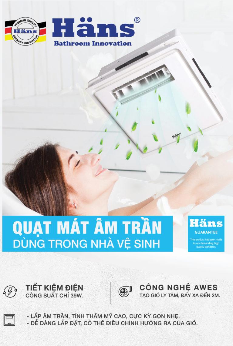 ưu điểm quạt mát âm trần đèn sưởi nhà vệ sinh hans