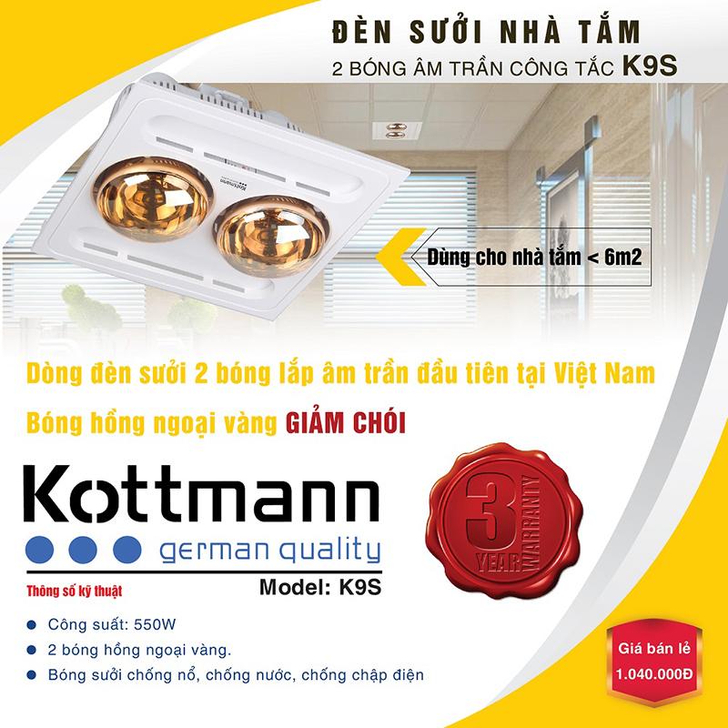 Đèn sưởi nhà tắm Kottmann 2 bóngk9s